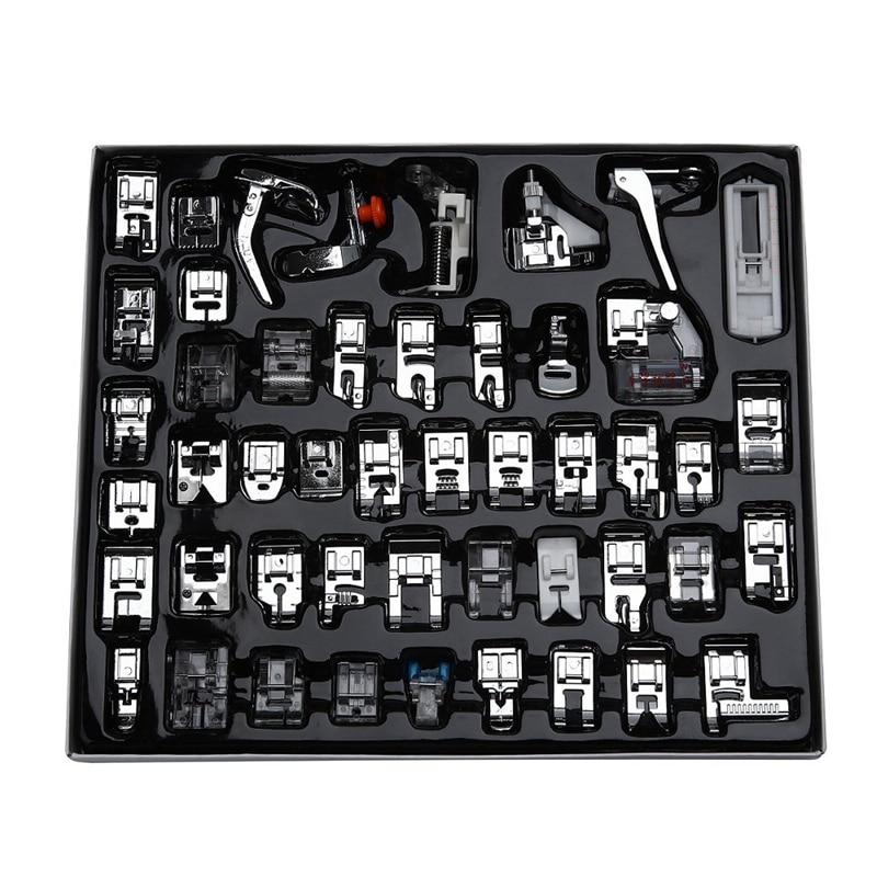 HLZS-Set de pies profesional 48 Uds prensatela para máquina de coser para Hermano, Babylock, Singer, Janome, Elna, Toyota, New Home, simplight