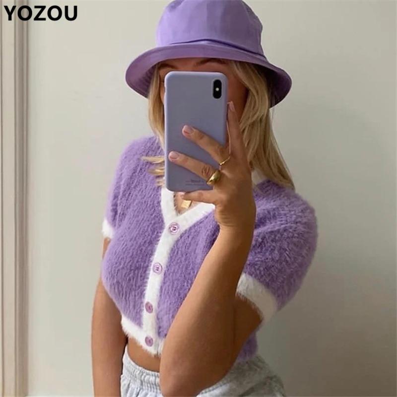 Harajuku vintage candy color kawaii cute purple green cardigan short sleeve short sweater for women crop top YL-5