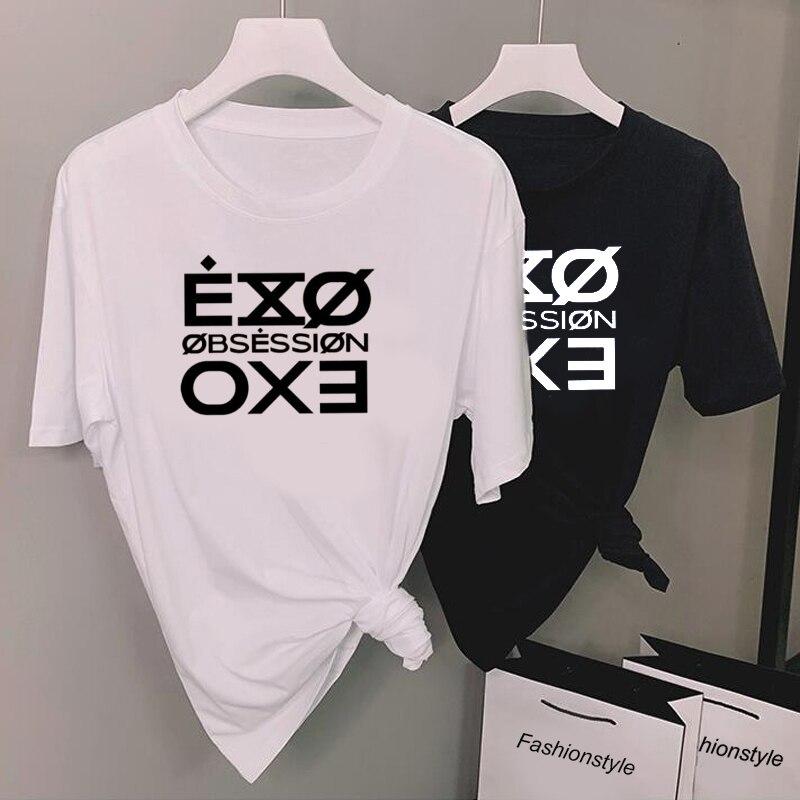 Lettera di modo Stampato Tshirt Donne Kpop Exo Ossessione T-Shirt Casual Manica Corta Tee Shirt Magliette E Camicette Unisex Fasns Vestiti