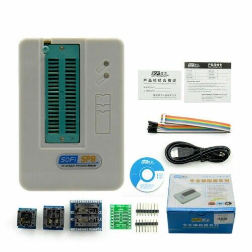 SP8-A Universal PROGRAMADOR USB EEPROM, Flash SPI, os 24/25/BR90/93 + enchufes