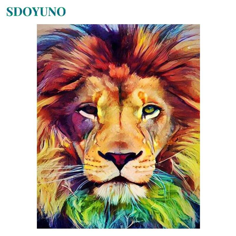 SDOYUNO 60x75cm pintura por números DIY Leones coloridos pintura sin marco por números animales pintura Digital sobre lienzo