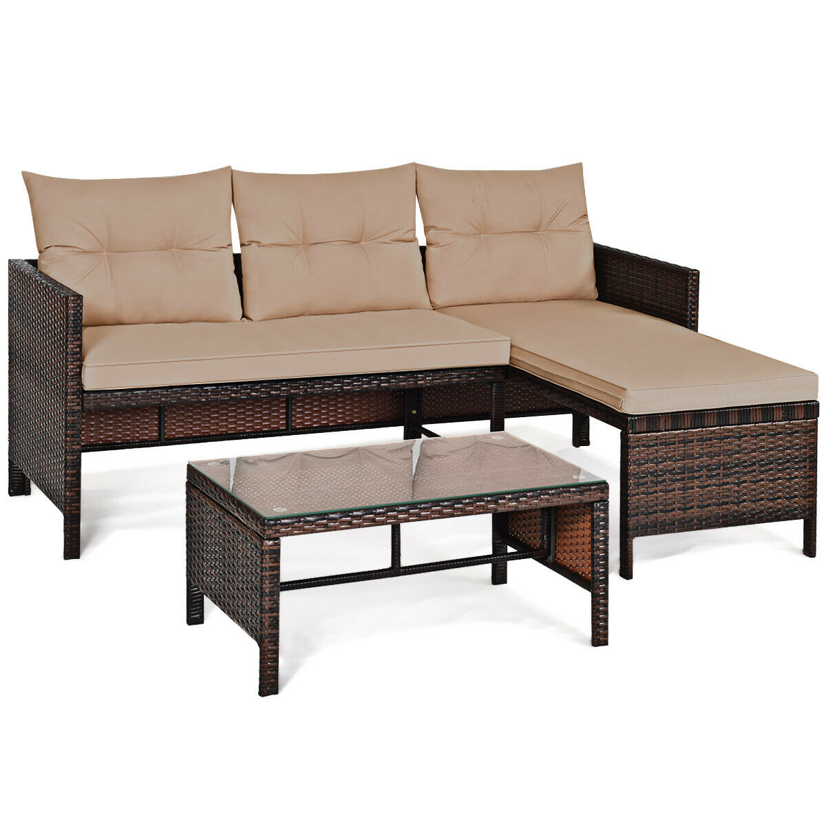 Costway 3PCS Patio Wicker Rattan Sofa Set Outdoor Sectional Conversation Set Garden Lawn HW63870