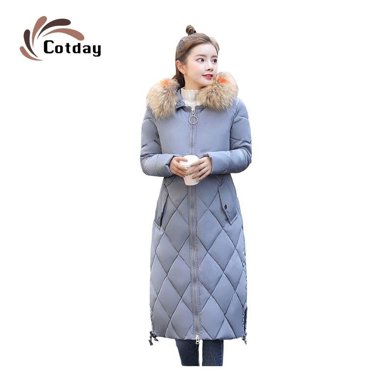 معطف طويل من الفرو من Cotday معطف شتاء بقلنسوة كبير جديد للنساء جاكيت كبير الحجم سميك دافئ مبطن بالقطن جيب كبير سترات Casacos