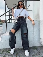 fashion womens jeans new casual hot sale high street clothing high waist solid color ripped hole straight washed jeans donsignet