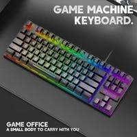 rgb gaming mechanical keyboard waterproof backlit color mechanical keyboard computer accessory for tablet desktop