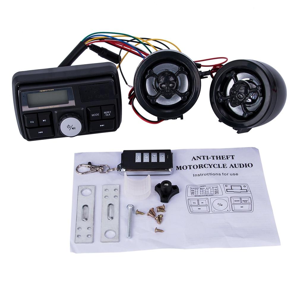 New Waterproof Radio Motorcycle Audio FM TF MP3 USB/SD Handle Bar Stereo 2 Speakers Car Sound System Alarm Motorbike Anti-Theft