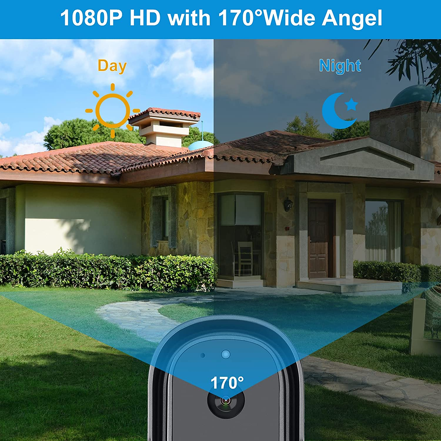 1080P WiFi Video Doorbell Camera,Work with Alexa, Google Home,Waterproof Camera with Motion Detection/Auto Light-up Chime enlarge
