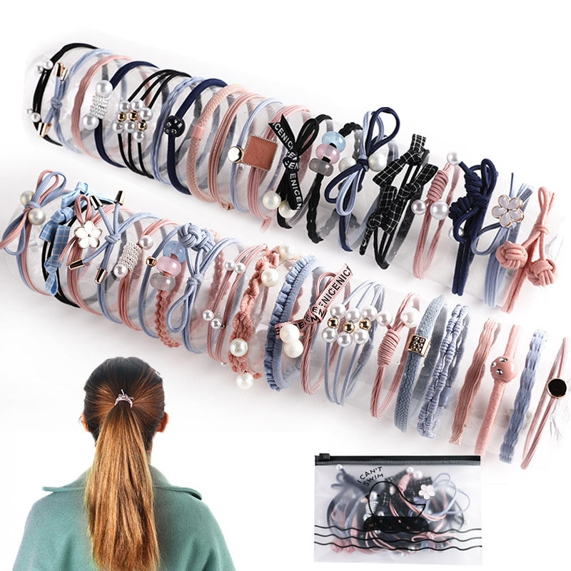 Wholesale Fashion Women Hair Accessories Simple Hair Tie Set Elastic Hair Band Colorful Rubber Pearl Hair Ties For Women simple semicycle alloy decorated hair band for women