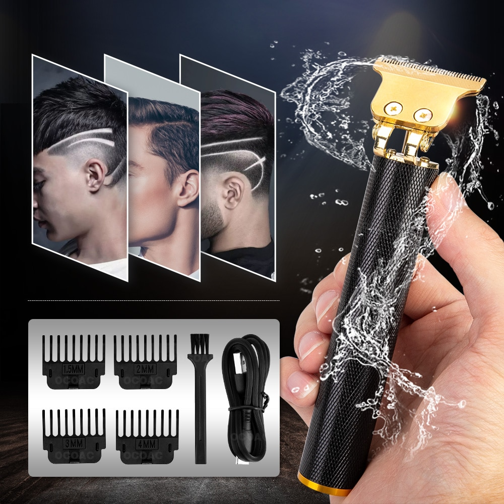 USB Rechargeable T9 Baldheaded Hair Clipper Electric hair trimmer Cordless Shaver Trimmer 0mm Men Ba