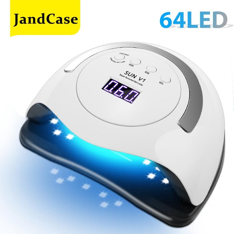Lámpara de uñas LED UV para secador de uñas, barniz de Gel UV con 64 LED, horno profesional de uñas, lámpara de hielo para manicura, Salón de Arte de uñas