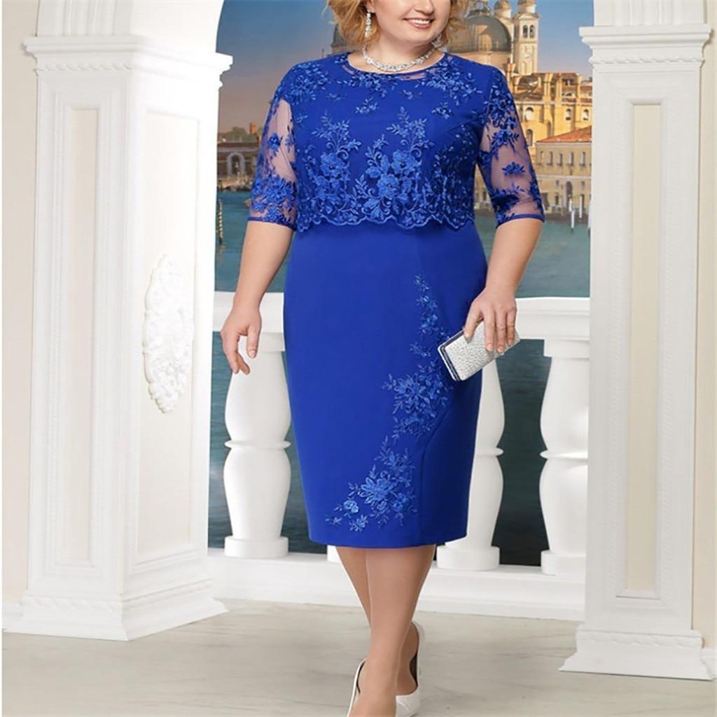 Dress Women Fashion Lace Elegant Mother of Bride Female Dresses Knee-Length Plus Size S-5XL Party Dr