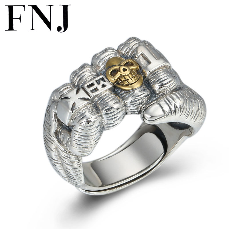 Anillo con diseño de puño FNJ 925, anillos de plata fina con calavera Punk Original S925 para hombre, joyería ajustable de talla grande 10-12,5