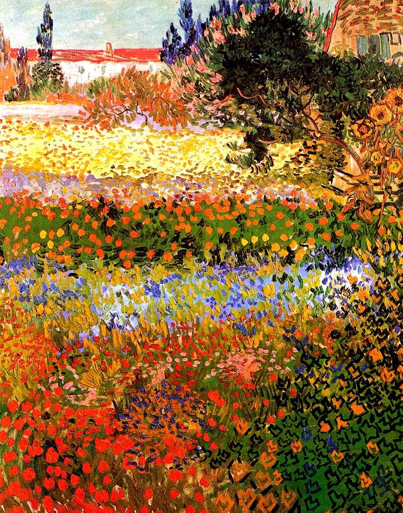 Vincent van Gogh-jardín floreado de pintura de seda, arte impresa en la...