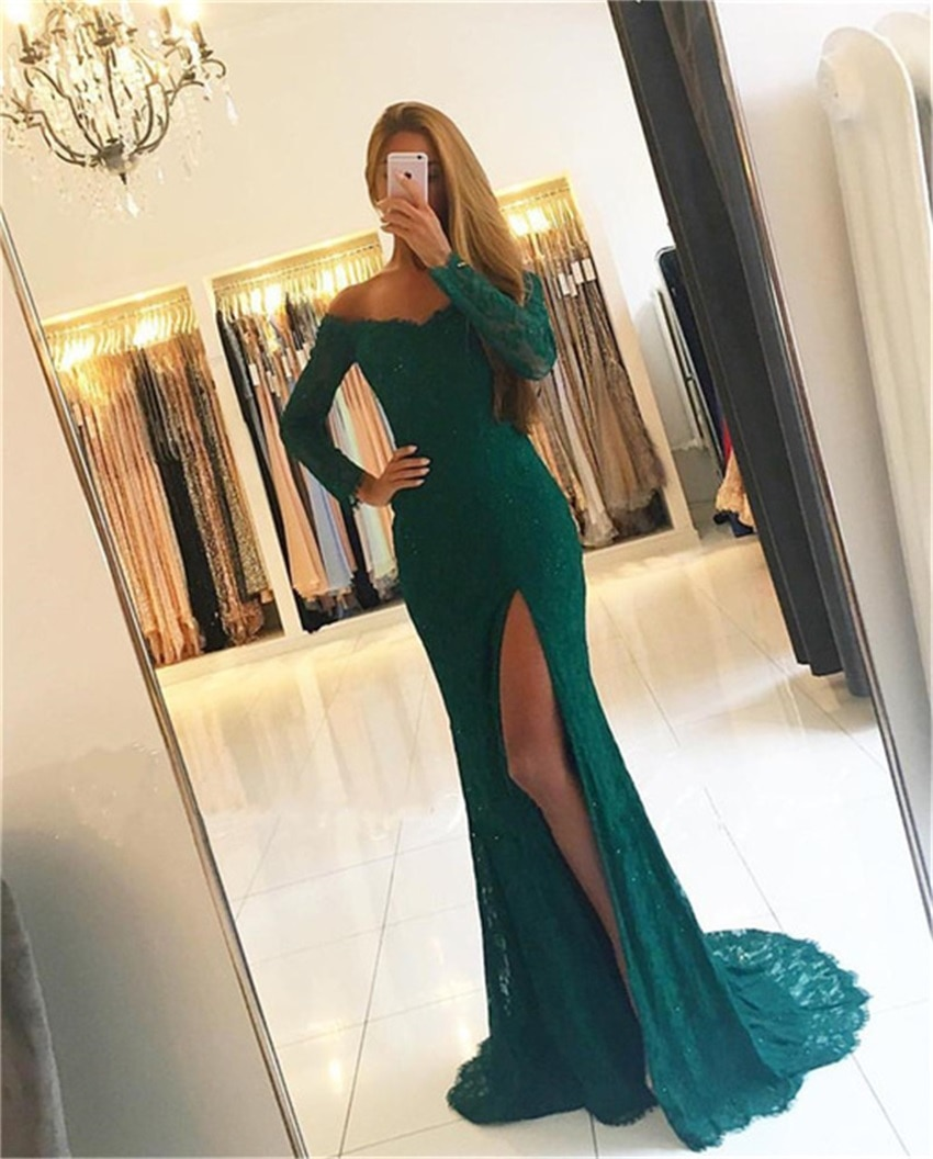 NUOXIFANG Long Sleeve Lace Mermaid Evening Dress 2020 High Split V-Neck Off The Shoulder Long Dresses Custom Made Party Gowns