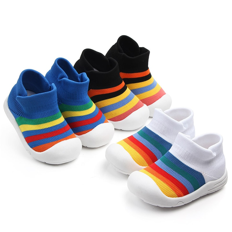 Fashion Infant Kids Baby Boy Girl Soft Sole Crib Shoes Sneaker Rainbow Anti-Slip Breathable Casual Sport Shoe Booties for Babie