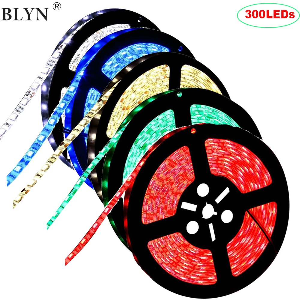 12V 5M 300LEDs SMD 5050 Waterproof LED Strip Light Flexible Ribbon Lighting Strips White Warm White Red Blue RGB Green