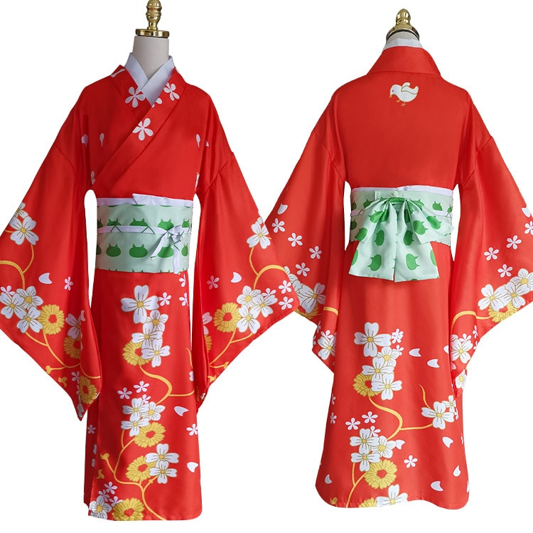 Kimono de Super Danganronpa 2 Hiyoko Saionji Hiyoko, disfraz de Cosplay, Kimono para mujer adulta, vestido naranja, vestido en existencias Kostuums