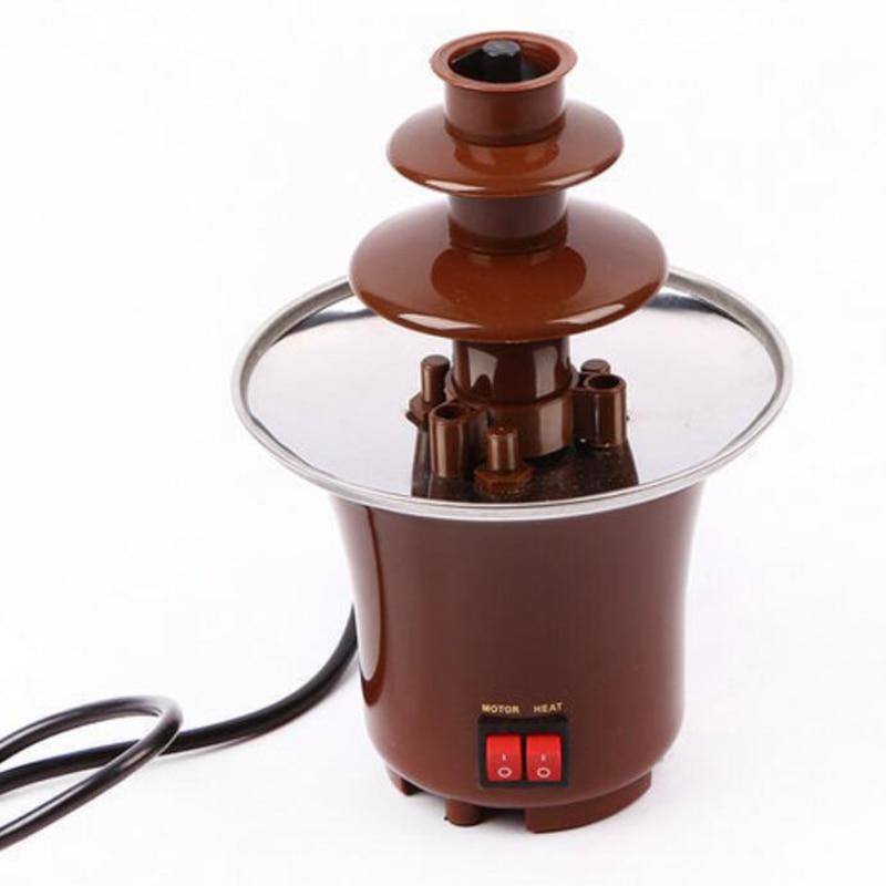 آلة صهر وتدفئة الشوكولاتة ثلاثية الطبقات ، قابس أمريكي ، تصميم إبداعي لنافورة الشوكولاتة