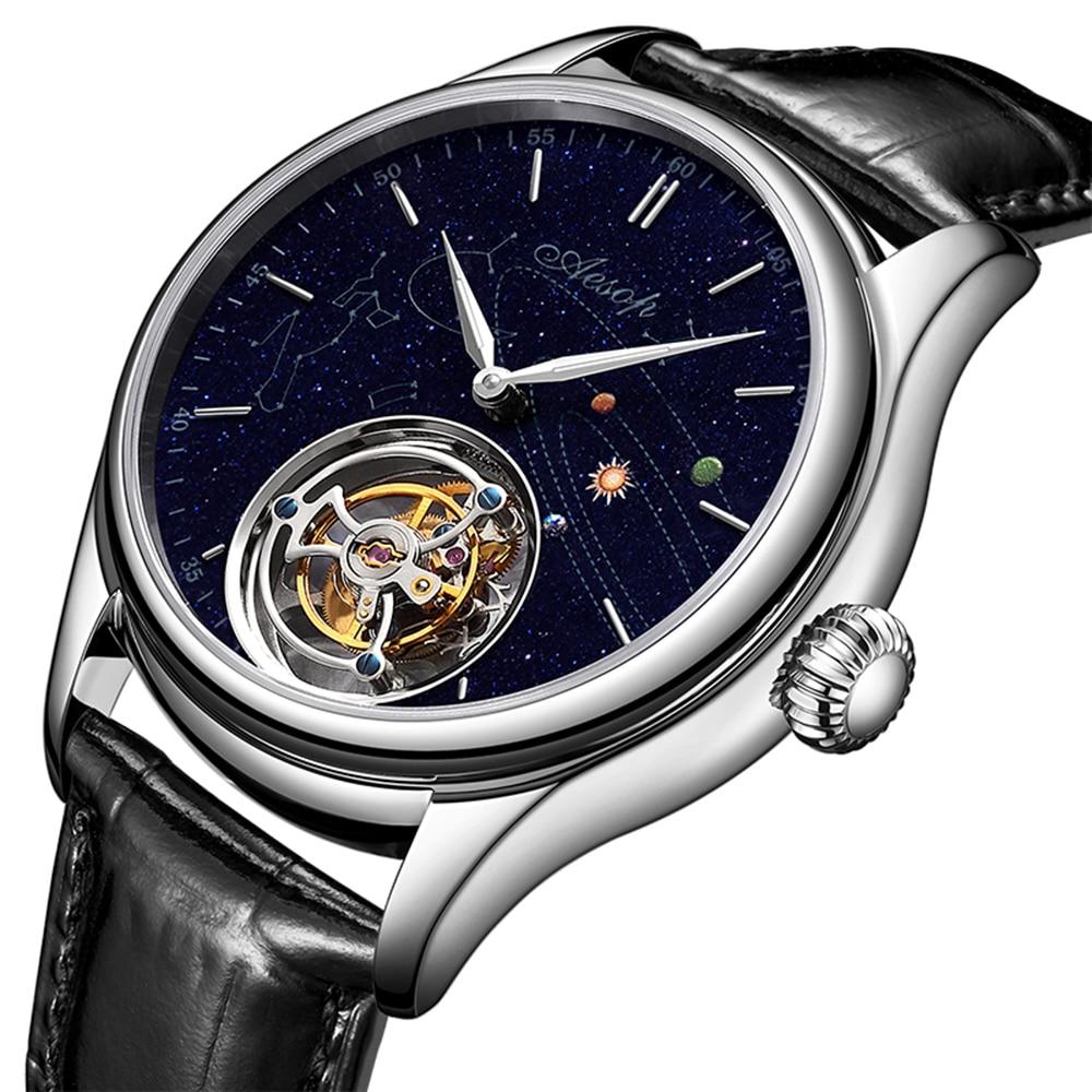Men's Luxury Mechanical Tourbillon Watches Mens 2020 Goldstone Dial Sapphire Tourbillon Skeleton Movement Watch For Men Fashion