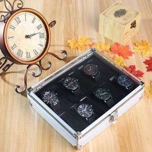 12 Grid Aluminium Watch Storage Case Bracelet Organiser Display Box Pillow Holder