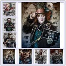 Newbricolage diamant peinture halloween,Harley Quinn,Marilyn Monroe, mandrky, freddy prison photo, Arte horreur films point de croix mosaïque