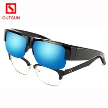OUTSUN 2020 Fashion Semi-Rimless Fit Over Glasses For Men and Women Wear Over the Glasses Sunglasses