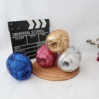 metallic tshirt yarn crochet knitting needlework weaving fancy thick cloth wool shinny gold silver purse handbag diy material