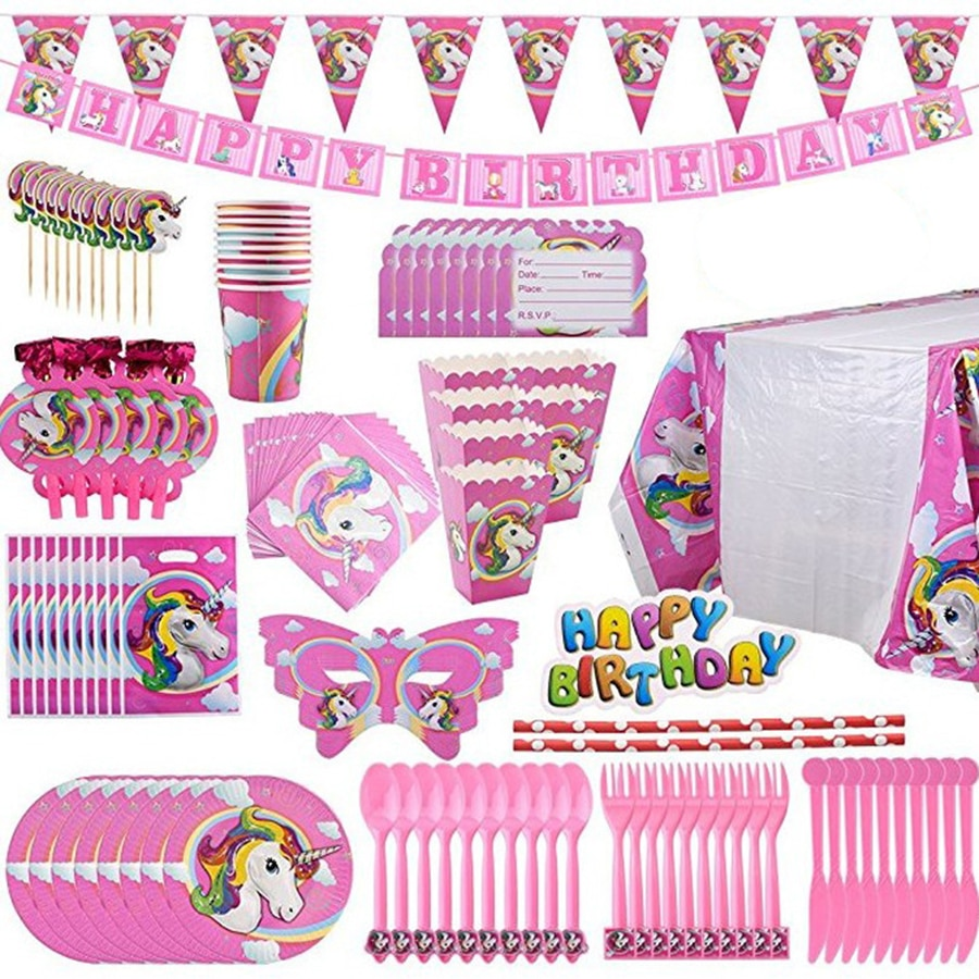 Украшения для девочек, единорог, товары для дня рождения, мультяшная одноразовая посуда, салфетки, тарелки, единорог, украшения для дня рожд...
