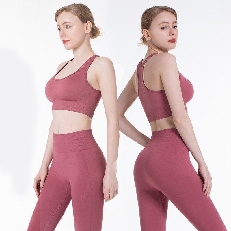 New2PCS/Set Seamless Fitness Women Yoga Suit High Stretchy Workout Sport Set Padded Sports Bra High Waist Sports Legging Gym