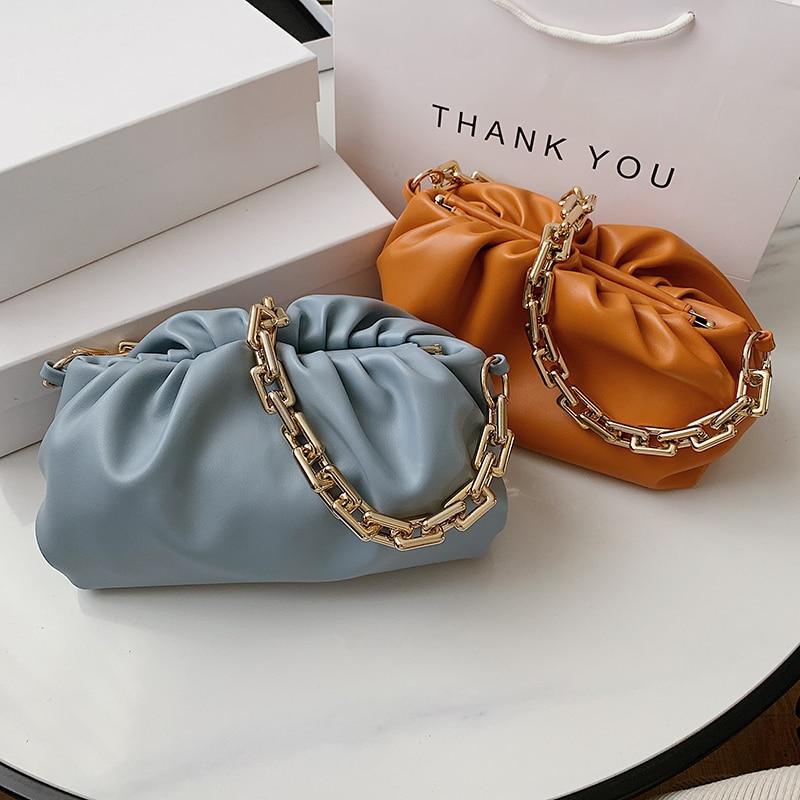 Luxury Acrylic Gold Chain PU Leather Women Cloud Bag Armpit Bag Lady Shoulder Handbags Female Solid Color Travel Shoulder Bag
