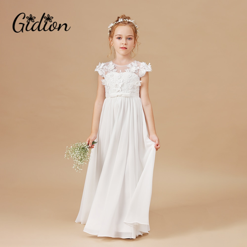 Flower Girl Dresses Applique Sleeveless Kids Birthday Party Pageant Gowns Weddings First Communion Elegant Dresses 2-14T