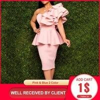 dinner dresses 2021 falbala chic slim elegant peplum ruffles fashion solid sexy one shoulder women evening formal party dress