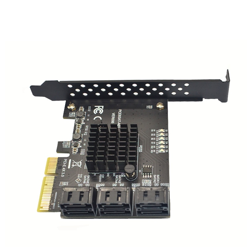 Bewiall Pci 6Gbps SATA 3.0 6 Ports to PCI-E Controller Card  SATA3 PCIe Expansion Card PCI Express Adapter Converter For Mining