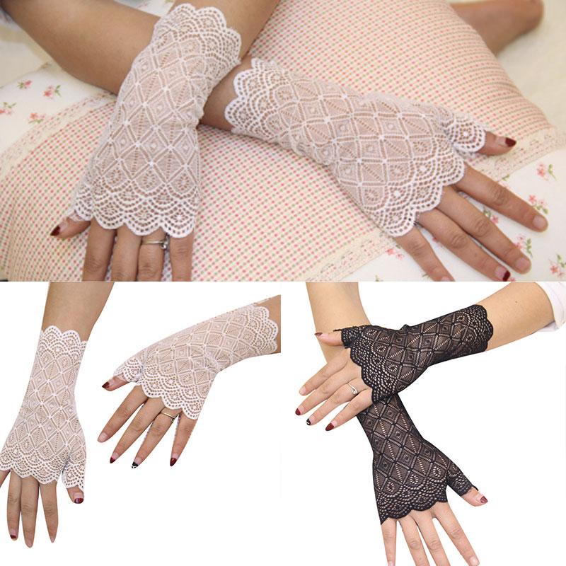 Женские рукавицы без пальцев, длинные рукава, кружевные теплые Рукава, летние солнцезащитные рукавицы