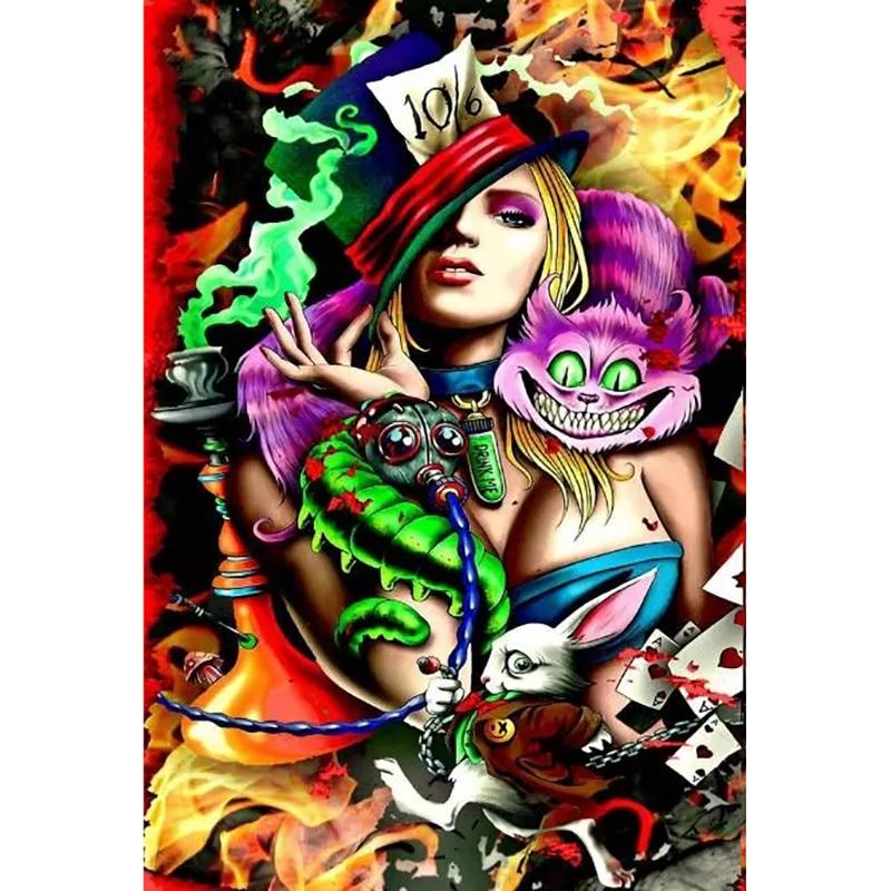 Sombrero Alice Chica Sexy Dama De Las Maravillas De La Pintura Diamante Cruz Puntada Kits De Arte Retrato 3d Pintura Por Diamantes Gxs189 Pintura De Punto De Cruz De Diamantes Aliexpress