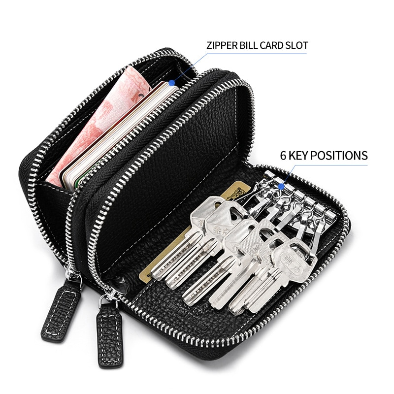 BISON DENIM-محفظة من الجلد الطبيعي للرجال والنساء ، محفظة صغيرة متعددة الوظائف ، مفاتيح ، منظم مفاتيح السيارة ، N9664