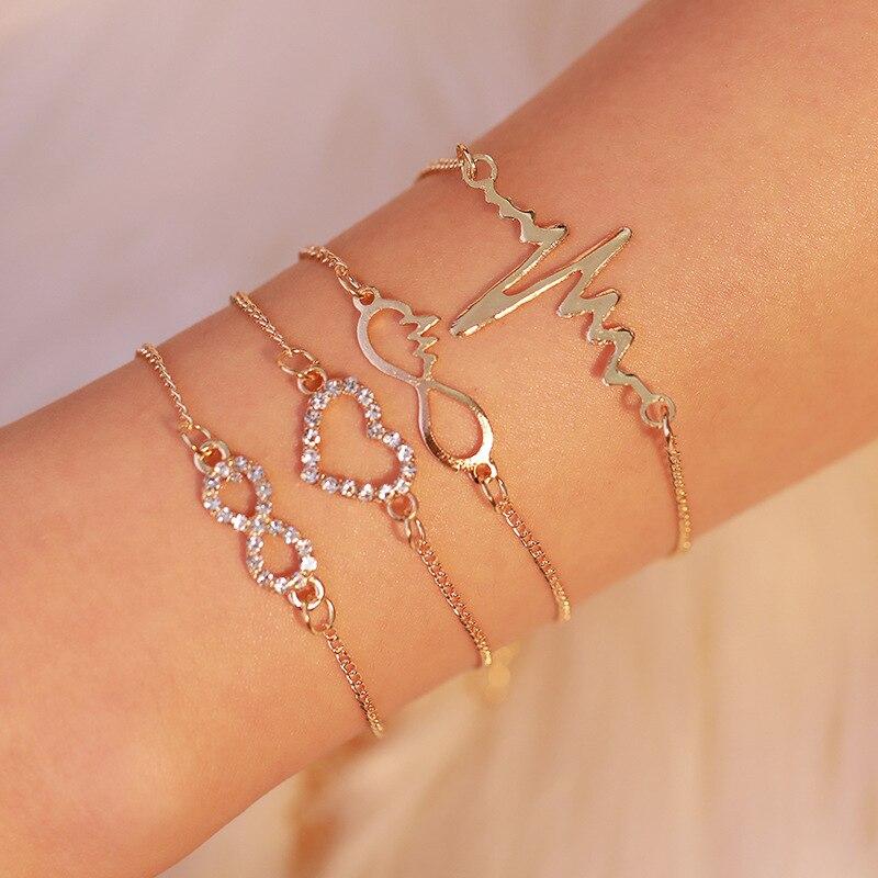 Einfache Herz-shaped Zirkon Armband Cardiogram Vier-stück Armbänder Damen Mode Schmuck Kristall 8 Wort Armband Hand Kette