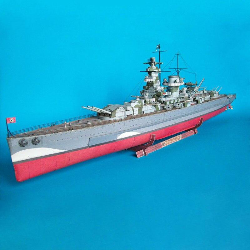 93cm Encouraçado Alemão Grafspe Emulational DIY 3D Cartão de Papel Modelo de Construção Conjunto de Brinquedo de Construção de Brinquedos Educativos Modelo Militar