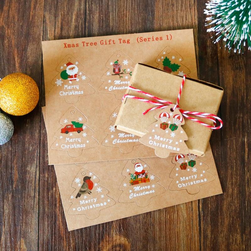 48sets Kraft Paper Tags Santa Claus Christmas Tree Gift Tags Xmas Party Decoration DIY Hang Tag Craft Packaging Labels with Rope