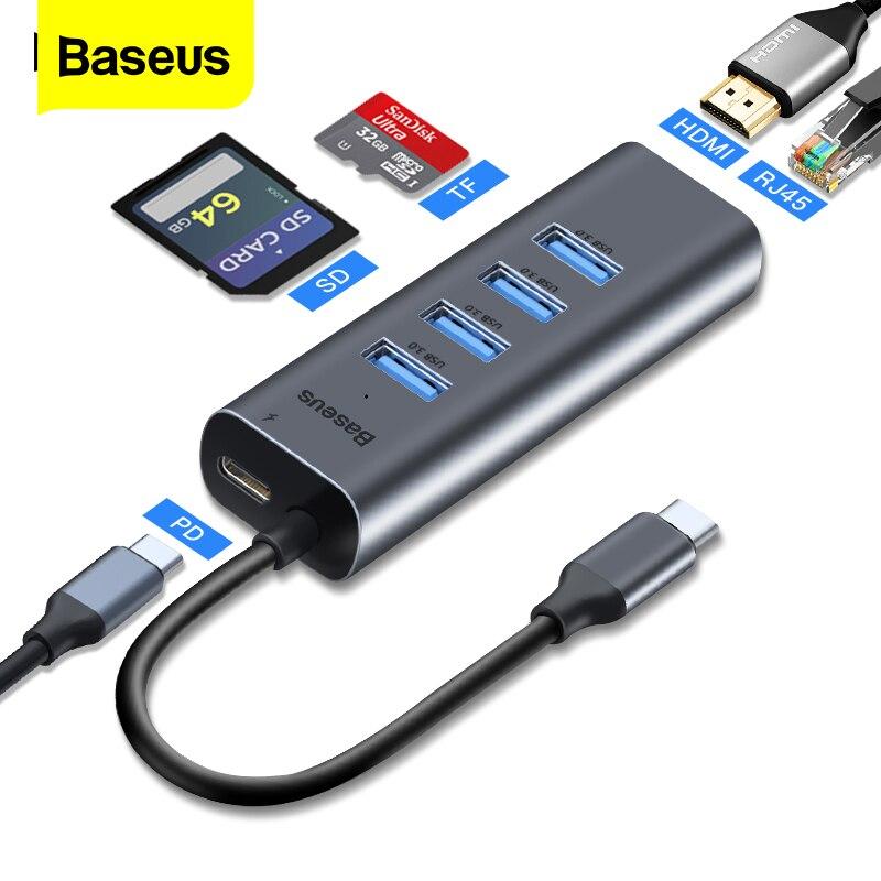 HUB USB C Baseus Type C HUB vers HDMI Ethernet Multi USB 3.0 ports Thunderbolt 3 2 adaptateur secteur pour MacBook Pro USB-C de quai pneumatique HUB