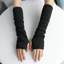 Knitted Long Fingerless Mittens Glove Arm Warmer Stretchy Mitten Unisex Crochet Half Finger Long Glo