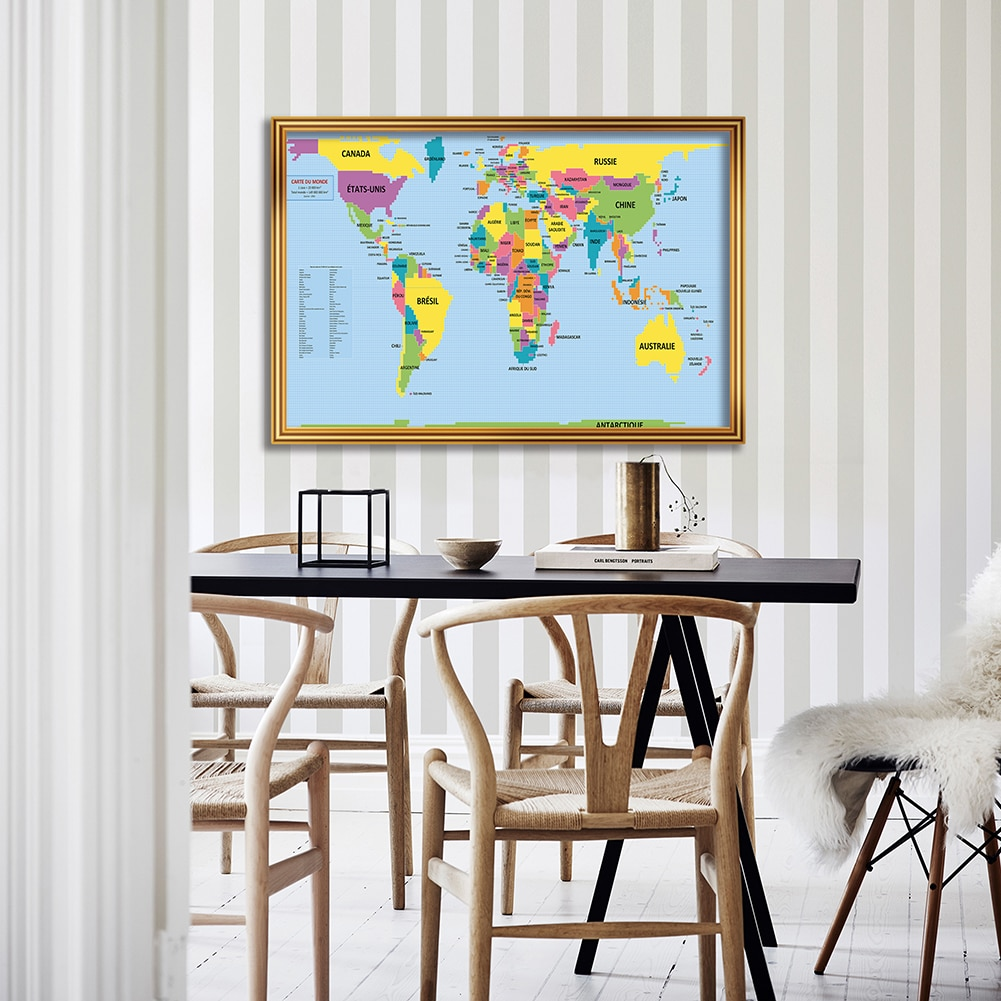 84*59cm The World Map In French Eco-friendly Canvas Painting Wall Poster Living Room Home Decoration Travel School Supplies