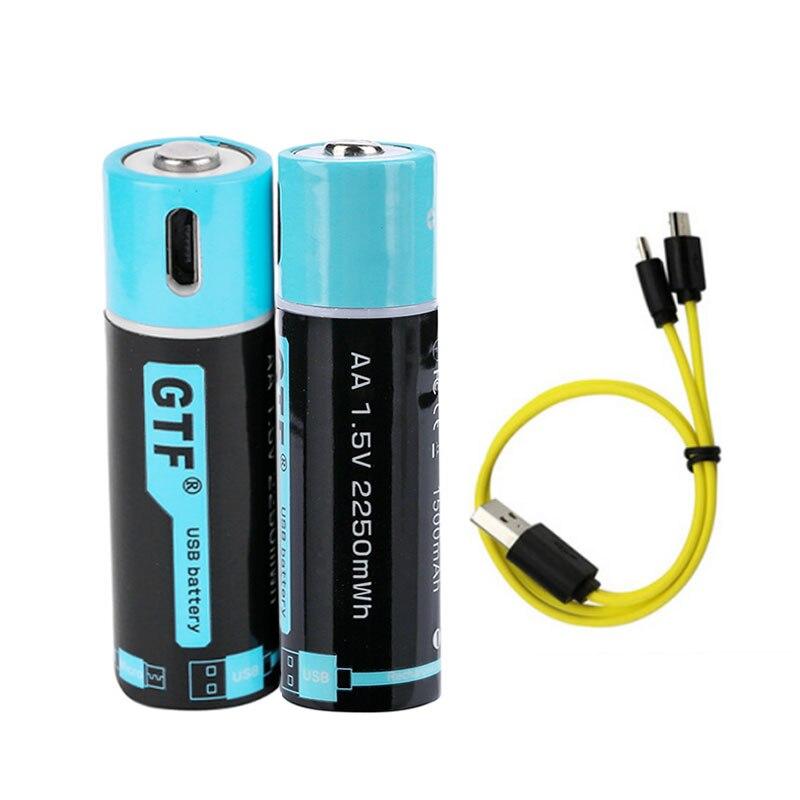 Bateria de lítio recarregável, 4 unidades, 1.5v usb aa 1500mah 2550mwh usb aa bateria de polímero de lítio com micro usb cabo de carregamento rápido