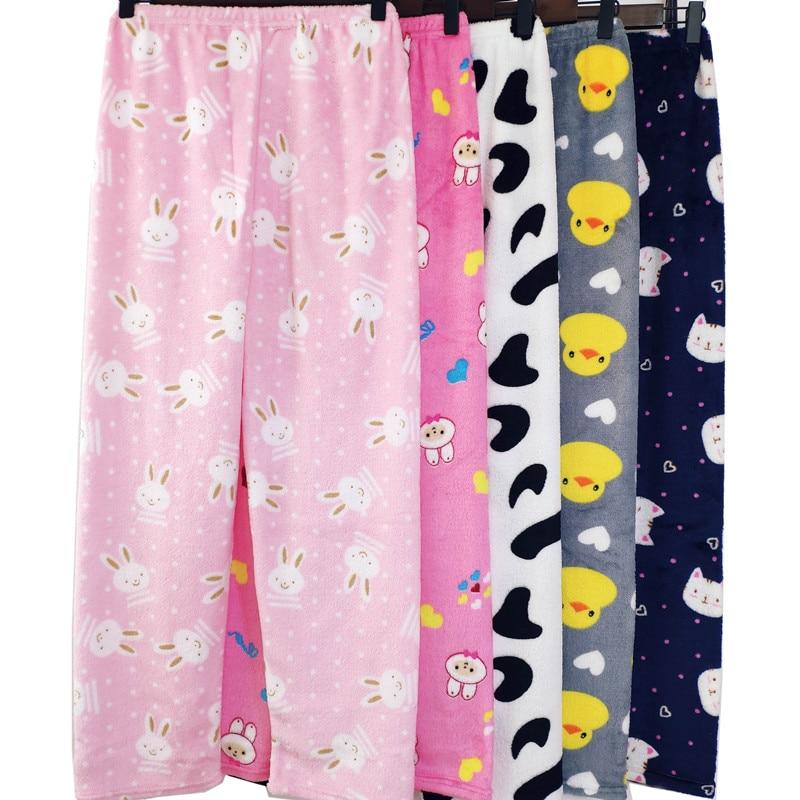 Women's Flannel Pajama Pants Warm Loose Comfortable Coral Fleece Home Pants Plush Pants 2020 New