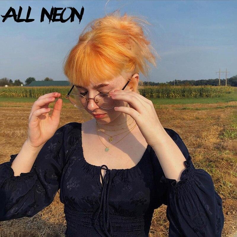 ALLNeon Pastell Goth Floral Lace-up Rüschen Crop Tees E-mädchen Vintage Square Neck Laterne Hülse Milch Maid tops Y2K Mode T-shirt