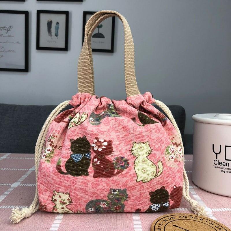 Aosbos bolsa térmica com cordão, bolsa de lona estampada para piquenique, armazenamento de alimentos, caixa feminina, desenho animado, impressão, frutas