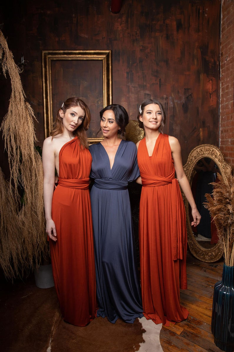 فساتين وصيفة العروس من الشيفون قابلة للتحويل ، بطول الأرض ، لون برتقالي لانهائي ، محفظة ماكسي ، قابلة للتخصيص ، 2021