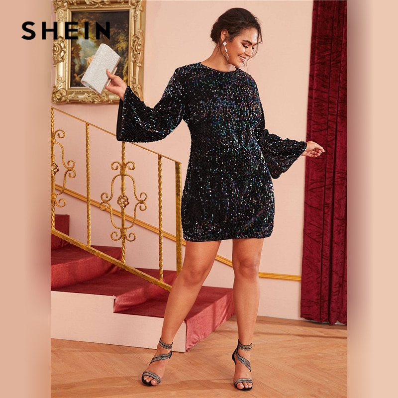 SHEIN Plus Size Black Fitted Sequin Glamorous Dress Women Autumn Plus Zipper Back Long Bell Sleeve Party Short Dresses