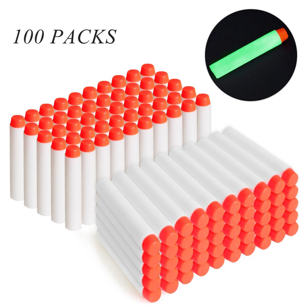 100pcs For Nerf Bullets EVA 7.2cm White Luminous Soft Bullet Hollow Hole Head for Nerf Toy Gun Accessories for Nerf Blasters