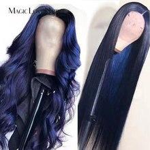 Perruque Lace Front wig brésilienne naturelle-Magic Love Hair   Cheveux lisses, couleur bleue foncée, pre-plucked, avec Baby Hair, pour femmes africaines